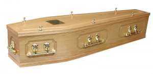 Coffins and Caskets Panelled Oak Veneer Coffin