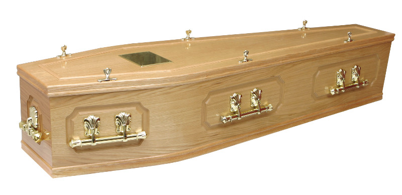 Panelled Oak Veneer Coffin