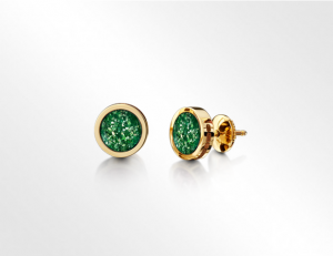 Earrings Gold Green